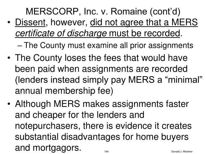 MERSCORP, Inc. v. Romaine (cont'd)