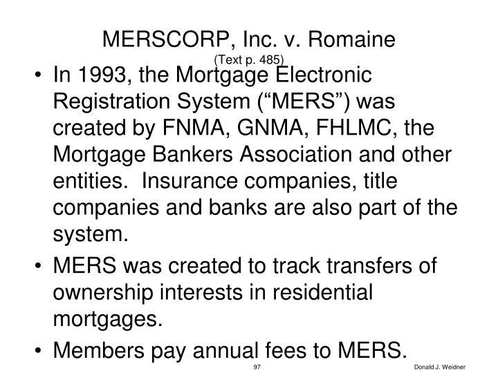 MERSCORP, Inc. v. Romaine