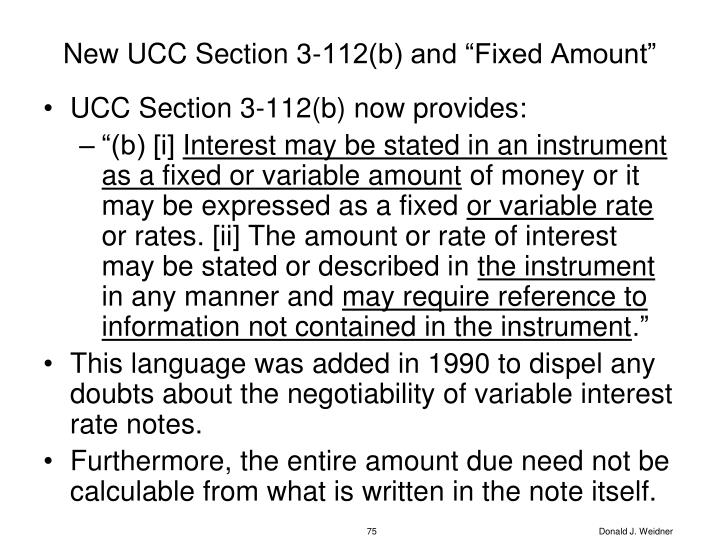 """New UCC Section 3-112(b) and """"Fixed Amount"""""""