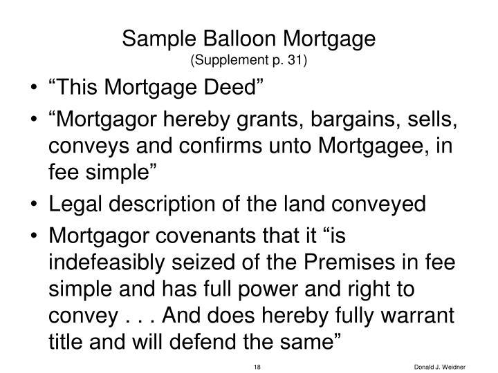Sample Balloon Mortgage