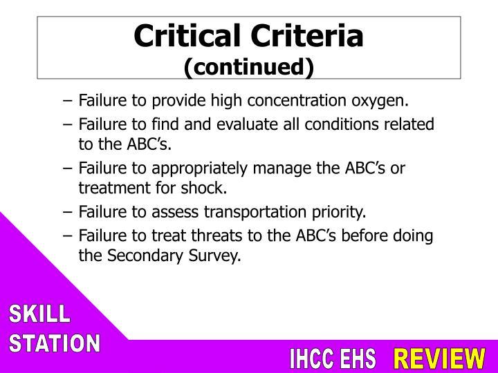 Critical Criteria