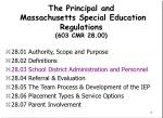 the principal and massachusetts special education regulations 603 cmr 28 00