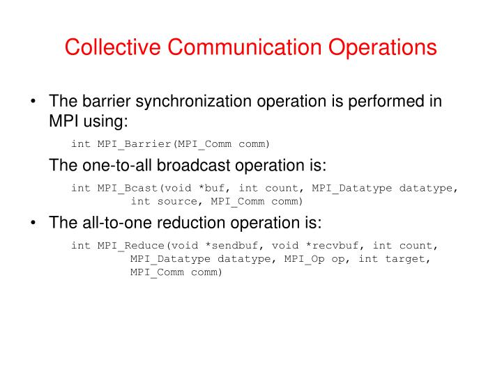 Collective Communication Operations