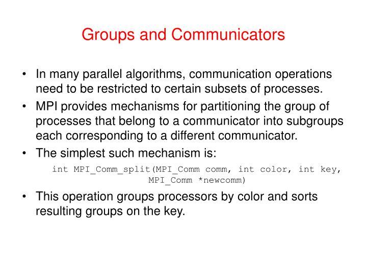 Groups and Communicators