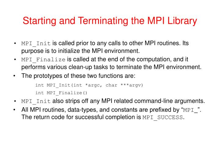 Starting and Terminating the MPI Library