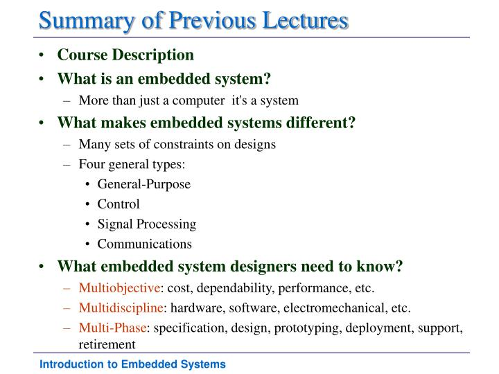 Summary of previous lectures
