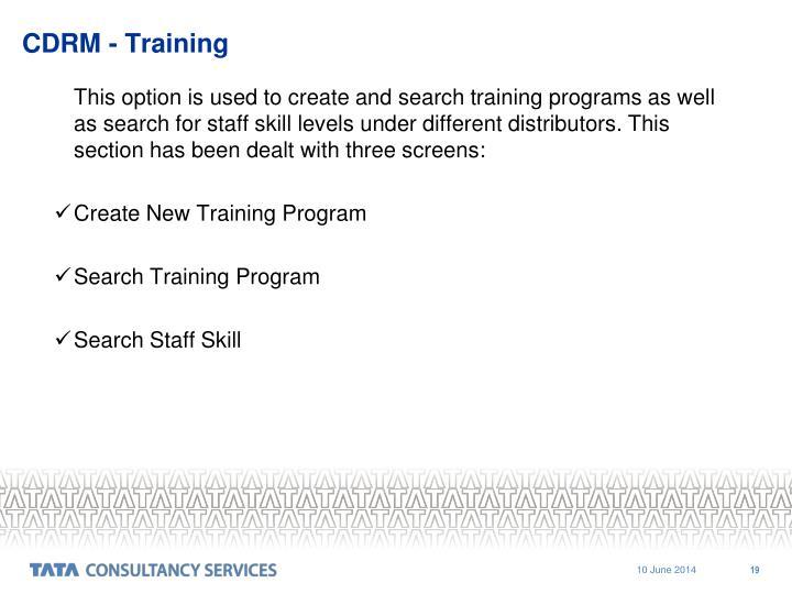 CDRM - Training