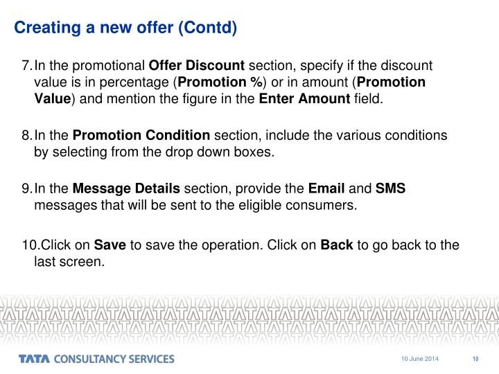 Creating a new offer (Contd)