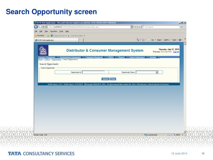 Search Opportunity screen