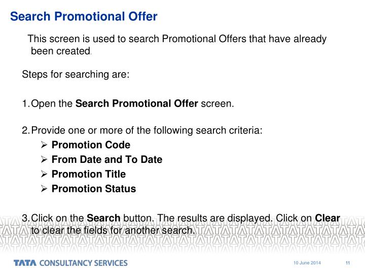 Search Promotional Offer