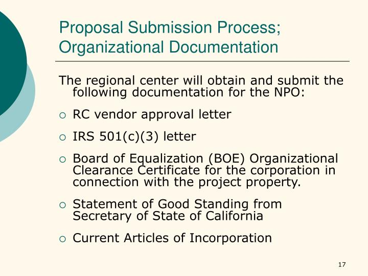 Proposal Submission Process; Organizational Documentation