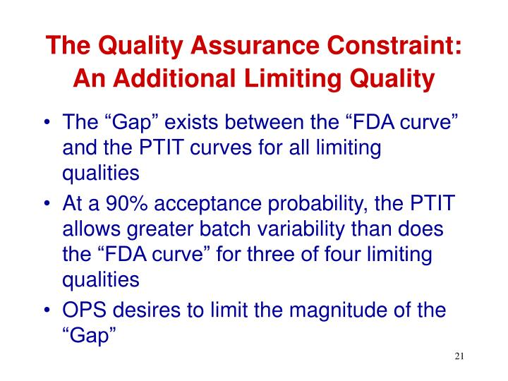 The Quality Assurance Constraint: