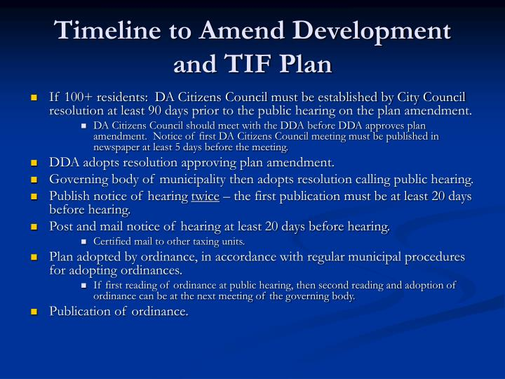 Timeline to Amend Development and TIF Plan