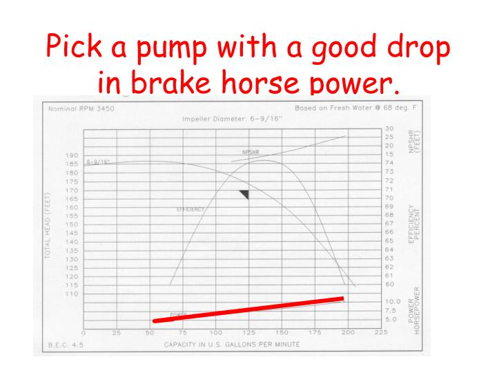 Pick a pump with a good drop in brake horse power.