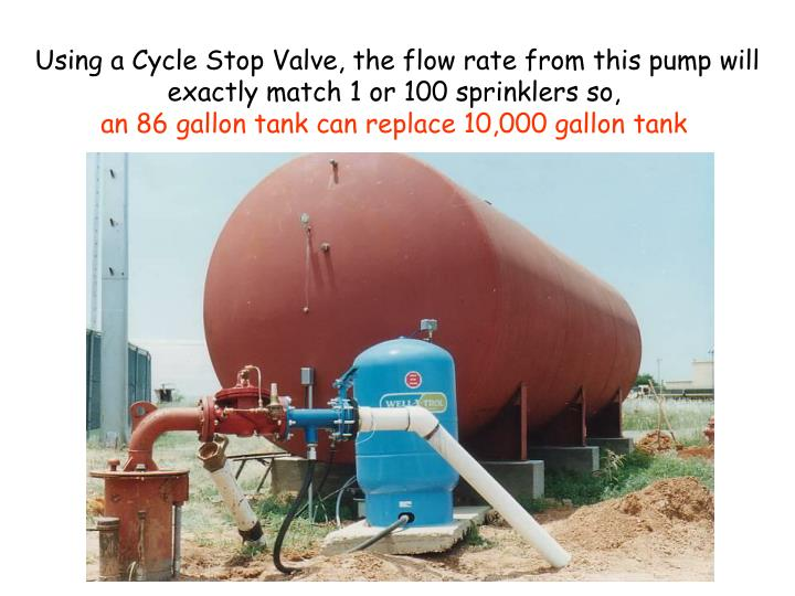 Using a Cycle Stop Valve, the flow rate from this pump will exactly match 1 or 100 sprinklers so,
