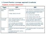 2 current practice coverage approach methods1
