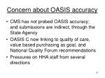 concern about oasis accuracy
