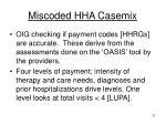 miscoded hha casemix