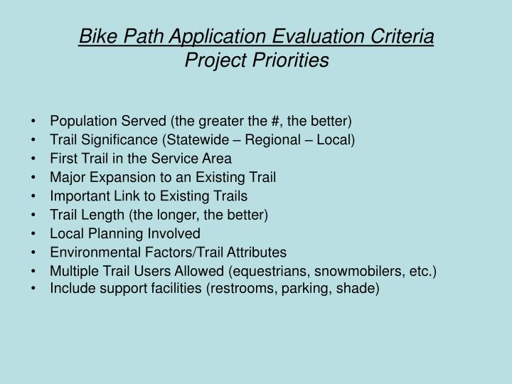 Bike Path Application Evaluation Criteria