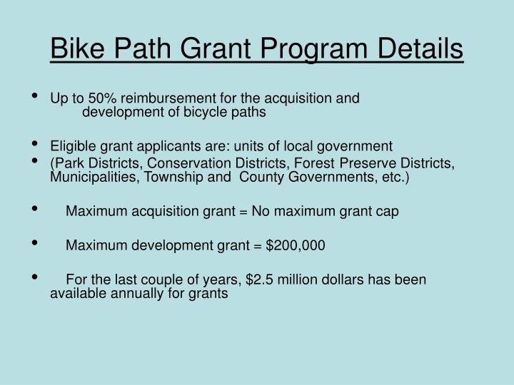 Bike Path Grant Program Details