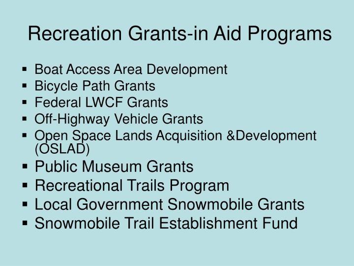 Recreation Grants-in Aid Programs