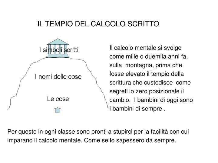 IL TEMPIO DEL CALCOLO SCRITTO