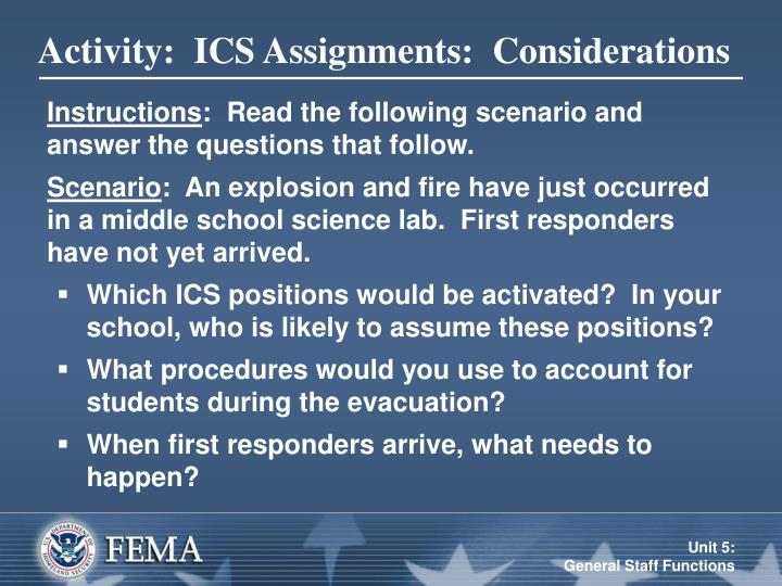 Activity:  ICS Assignments:  Considerations