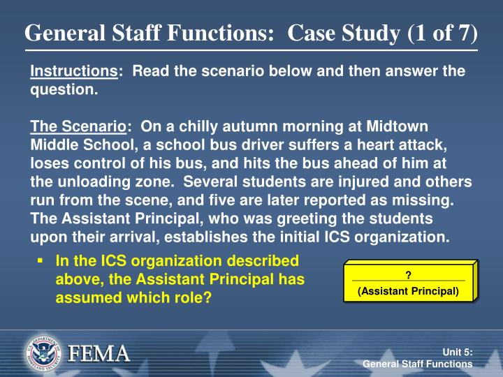 General Staff Functions:  Case Study (1 of 7)