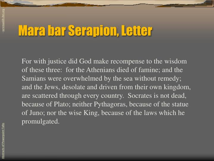 Mara bar Serapion, Letter