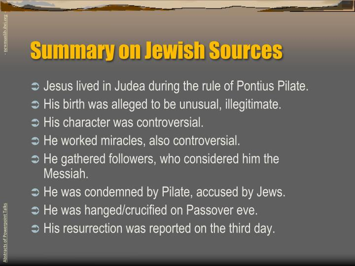 Summary on Jewish Sources