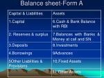 balance sheet form a