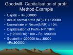 goodwill capitalisation of profit method example