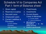 schedule vi to companies act part i form of balance sheet