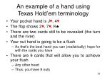 an example of a hand using texas hold em terminology