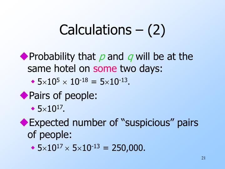 Calculations – (2)