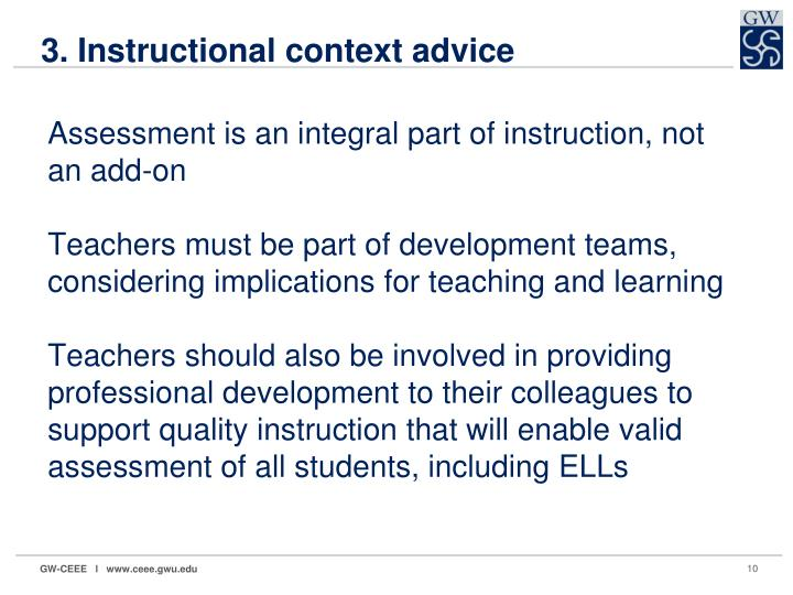3. Instructional context advice