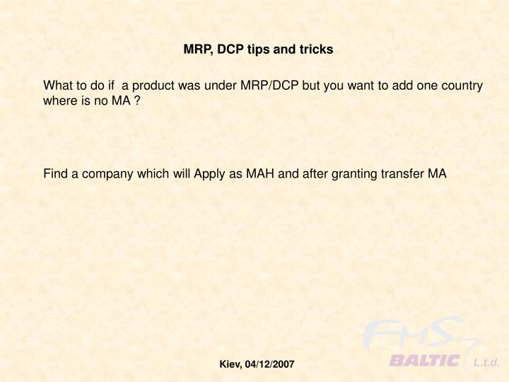 MRP, DCP tips and tricks