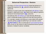 behavioral perspectives bandura