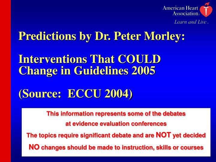 Predictions by Dr. Peter Morley: