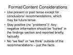 format content considerations