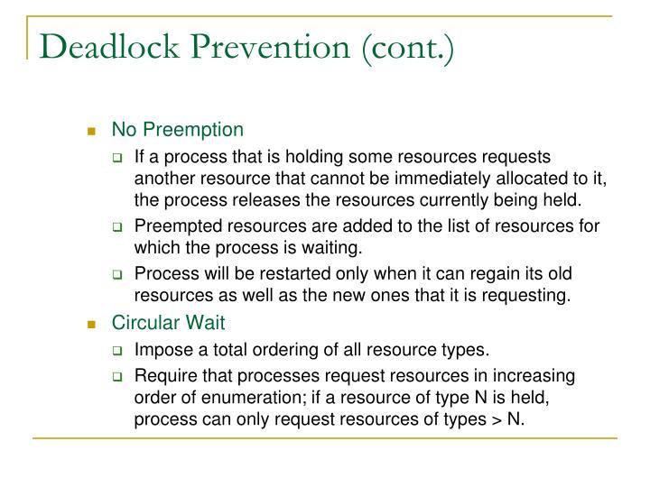 Deadlock Prevention (cont.)