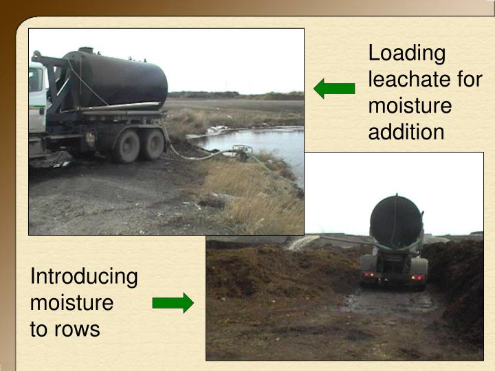 Loading leachate for moisture addition