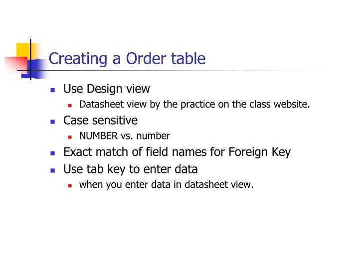 Creating a order table1