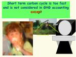 short term carbon cycle is too fast and is not considered in ghg accounting except