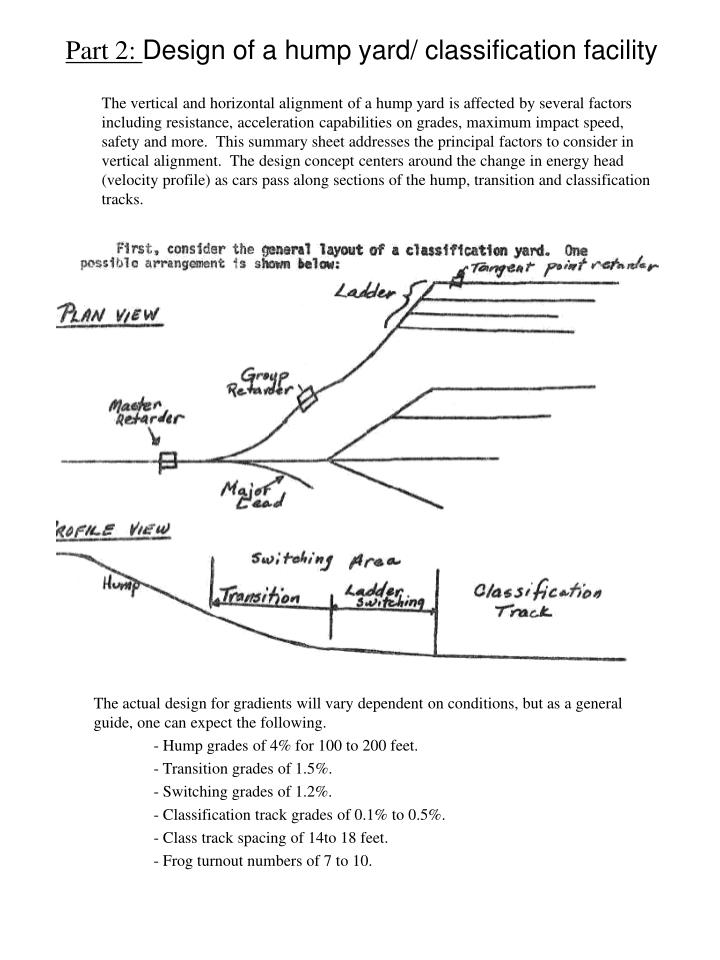 The vertical and horizontal alignment of a hump yard is affected by several factors including resistance, acceleration capabilities on grades, maximum impact speed, safety and more.  This summary sheet addresses the principal factors to consider in vertical alignment.  The design concept centers around the change in energy head (velocity profile) as cars pass along sections of the hump, transition and classification tracks.