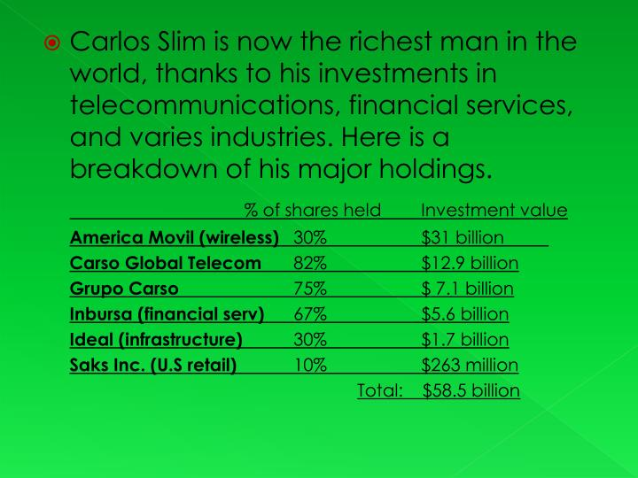 Carlos Slim is now the richest man in the world, thanks to his investments in telecommunications, financial services, and varies industries. Here is a breakdown of his major holdings.