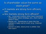 is shareholder value the same as stock price