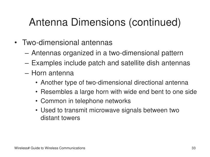 Antenna Dimensions (continued)