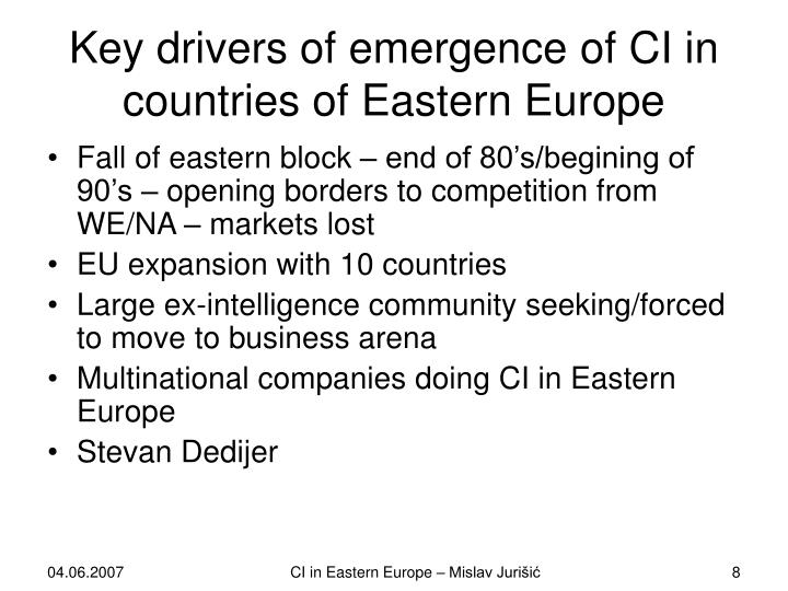 Key drivers of emergence of CI in countries of Eastern Europe