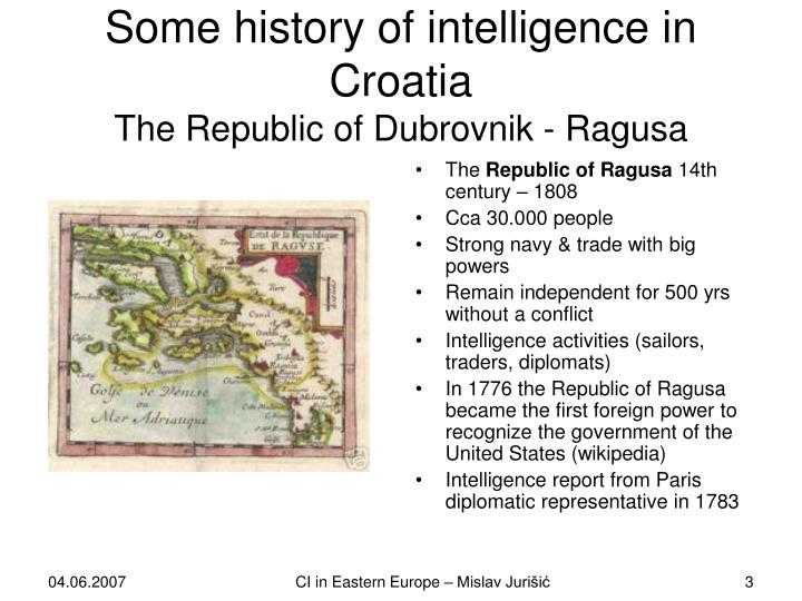 Some history of intelligence in croatia the republic of dubrovnik ragusa